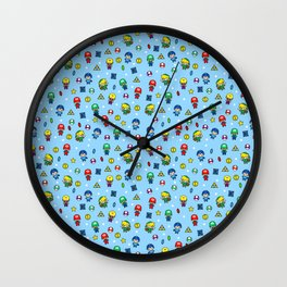 Cool Video Game 8-Bit Heroes Vintage Gamer Gaming Collection Wall Clock