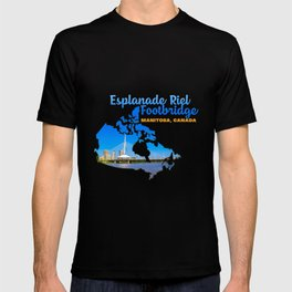 Esplanade Riel Footbridge Winnipeg Manitoba Canada pedestrian bridge Water T-shirt
