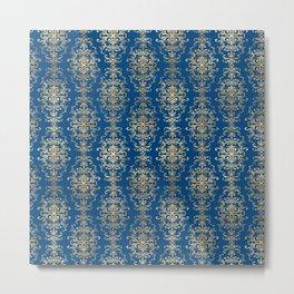 Elegant Blue and Gold Royal Damask Rows Pattern Metal Print