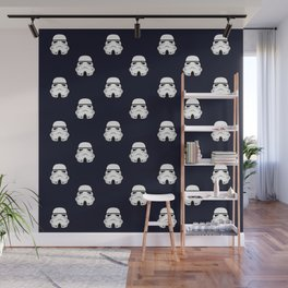 Stormtrooper Helmet  Pattern Drak Blue Wall Mural