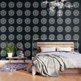 Glowing Spirit Mandala Blue White Wallpaper