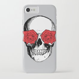 Skull and Roses | Grey and Red iPhone Case