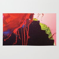 chihiro Area & Throw Rugs featuring abstract painting red splash  by Chihiro Streetcat