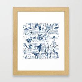 Da Vinci's Anatomy Sketchbook // Dark Blue Framed Art Print