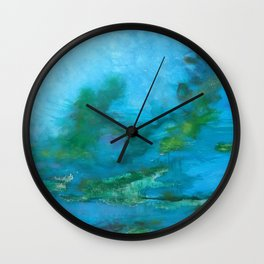 Light Blue Monet´s Theme of Waterlilies Wall Clock