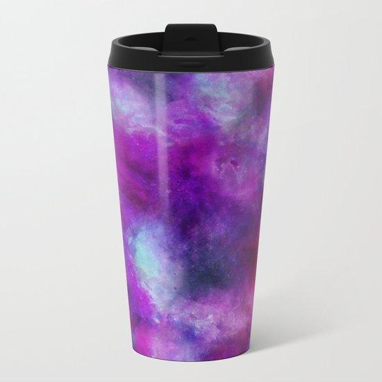 Purple Pink Blue Watercolor Metal Travel Mug