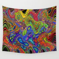 psychedelic Wall Tapestries featuring Psychedelic by Frankie Cat