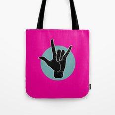 ILY - I Love You - Sign Language - Black on Green Blue 04 Tote Bag