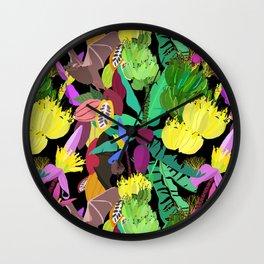 Tropical Fruit Bats in Night Black Wall Clock