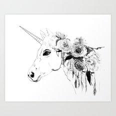 Unicorn, black and white Art Print