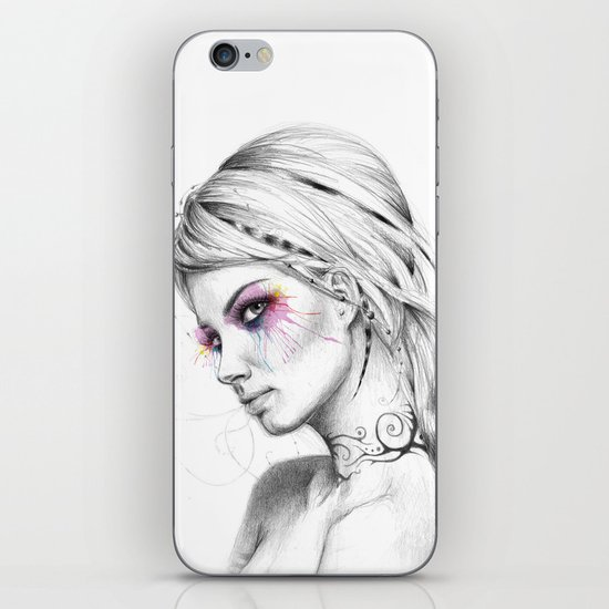 Beautiful Girl with Tattoos and Colorful Eyes iPhone & iPod Skin