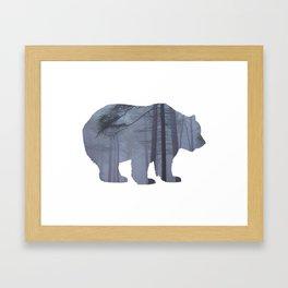 Bear Silhouette Woods Country Home Decor Farmhouse Art A068b Framed Art Print