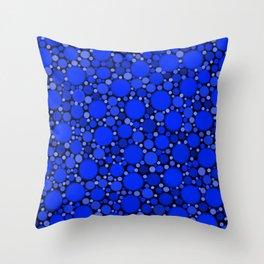 Vibrant Cobalt Blue Polka Dots Throw Pillow