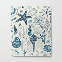 Sea shells on off white Metal Print