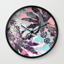 Tropical Adventure in Pink Wall Clock