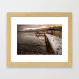 Snowy dock Framed Art Print
