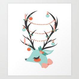 Retro Reindeer Art Print