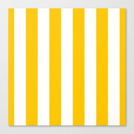 Aspen Gold Yellow and White Wide Vertical Cabana Tent Stripe Canvas Print
