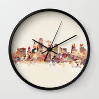 kansas city Wall Clocks featuring Kansas City Missouri by bri.buckley