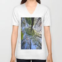 woodland V-neck T-shirts featuring Woodland by Shadoisk