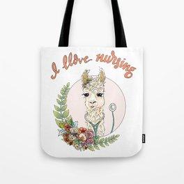 I Llove Nursing Llama Tote Bag