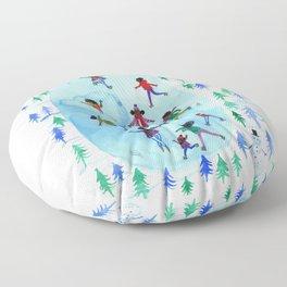 Ice Skaters Floor Pillow