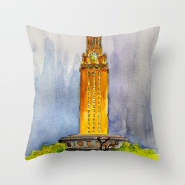 UT Tower - Shines to welcome new students to campus Throw Pillow