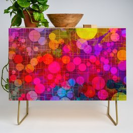 Rainbow Bubbles Abstract Design Credenza