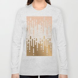 Marble and Geometric Diamond Drips, in Gold and Peach Long Sleeve T-shirt