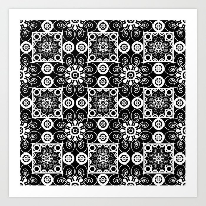 Retro vintage black and white openwork ornament art print