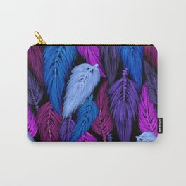 Watercolor Macrame Feather Toss in Black + Indigo Carry-All Pouch
