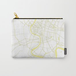 Bangkok Thailand Minimal Street Map - Pastel Yellow and White Carry-All Pouch