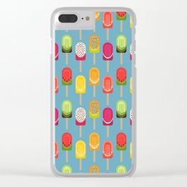 Fruit popsicles - blue version Clear iPhone Case