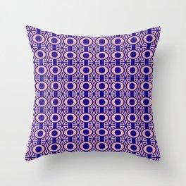 Blue Circles Retro Pattern Throw Pillow