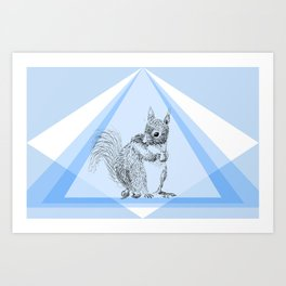 Squirrel stealing nuts Art Print