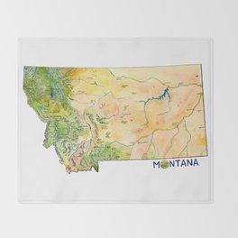 Montana Painted Map Throw Blanket
