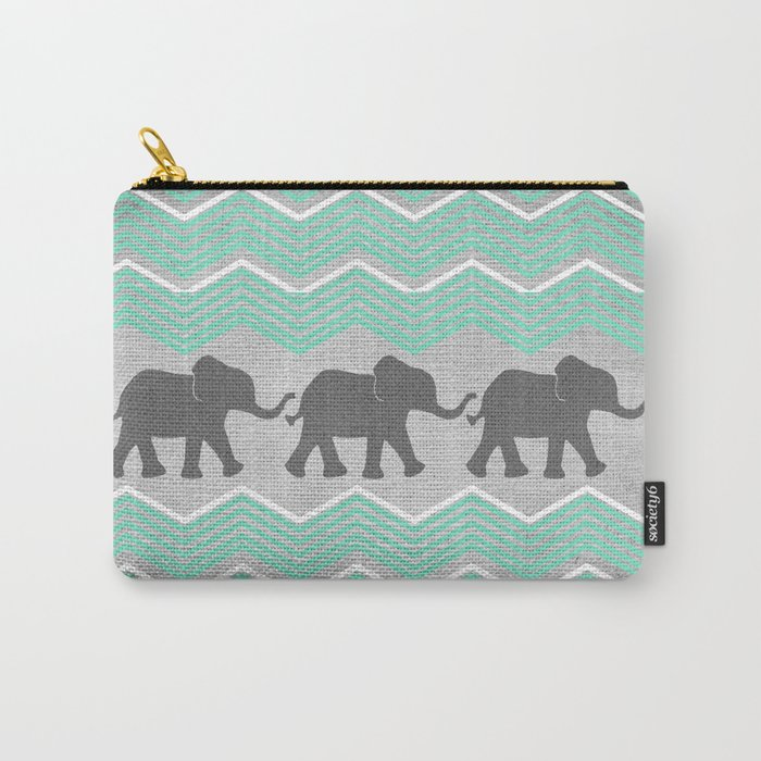 Three Elephants - Teal and White Chevron on Grey Carry-All Pouch