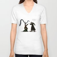 aragorn V-neck T-shirts featuring Thankless Job by wolfanita