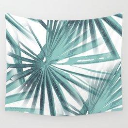 Teal Aqua Tropical Beach Palm Fan Vector Wall Tapestry