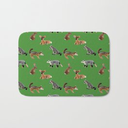 Backyard Critters in Green Bath Mat