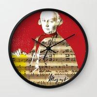 mozart Wall Clocks featuring Wolfgang Amadeus Mozart by Marko Köppe