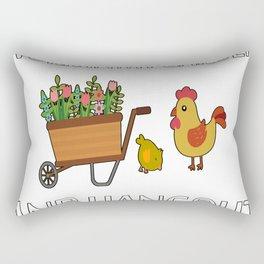 Work in Garden Hang with Chickens Rectangular Pillow
