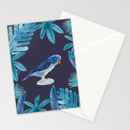 Blue Pacific Parrotlet with tropical leaves and an indigo background Stationery Cards