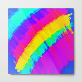 Bright Colorful Abstract Brushstroke Rainbow Metal Print