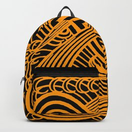 Art Nouveau Swirls in Orange and Black Backpack