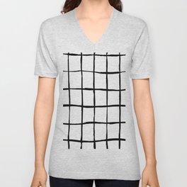 Black white hand drawn geometric abstract random stripes Unisex V-Neck