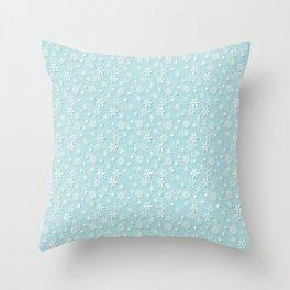 Robin's Egg Aqua Blue Christmas Snow Flakes Throw Pillow