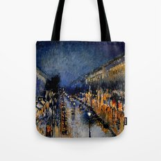 The Boulevard Montmartre At Night : Camille Pissarro Tote Bag