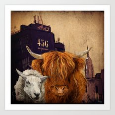 Sheep Cow 123 Art Print