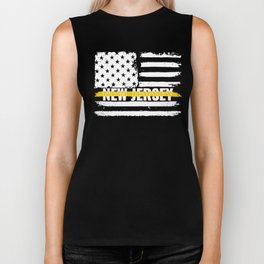 New Jersey 911 Emergency Dispatcher Gift for Police, Fire and Ambulance Dispatchers Thin Gold Line Biker Tank